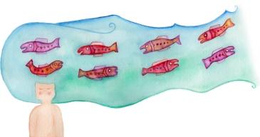 Ilustración salmones viaje Canada