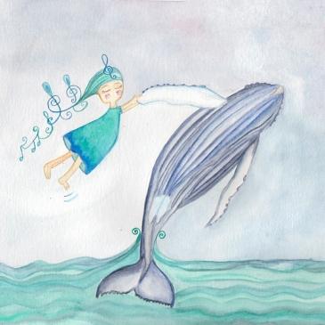 Ilustración canto ballena
