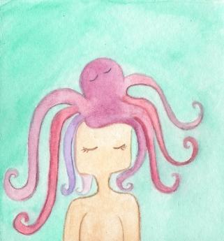Ilustración niña pulpo