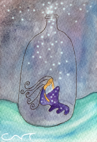 Ilustración acuarela mujer botella mar