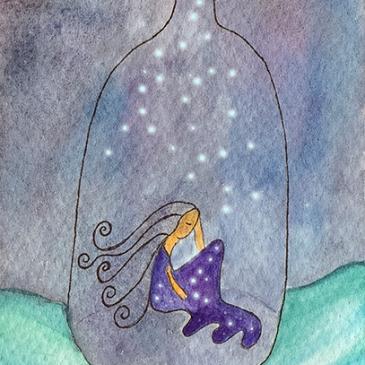 Ilustración acuarela mujer botella mar proyecto blogtella Te cuento de viajes