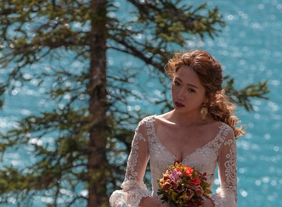novia en Morraine Lake