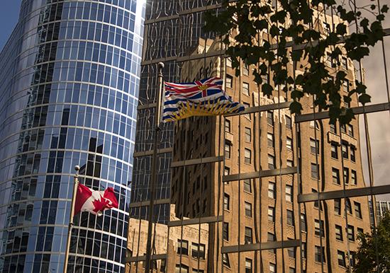 Rascacielos, reflejos, Vancouver, Canadá