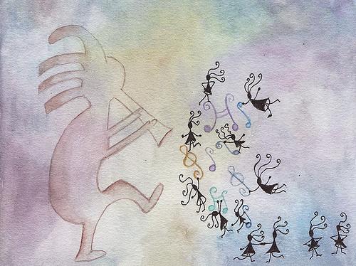 Kokopelli ilustración acuarela y tinta Te cuento de viajes CVT