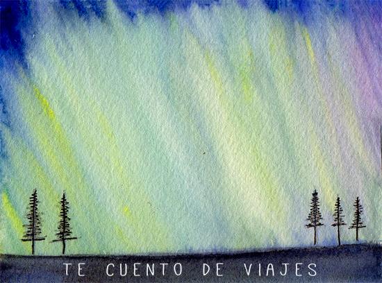 Aurora boreal ilustración Northen lights