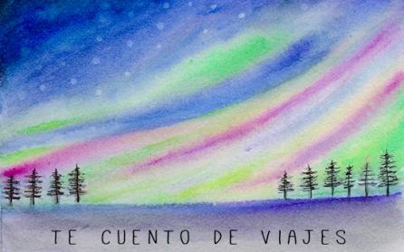 Northen lights watercolor aurora boreal acuarela