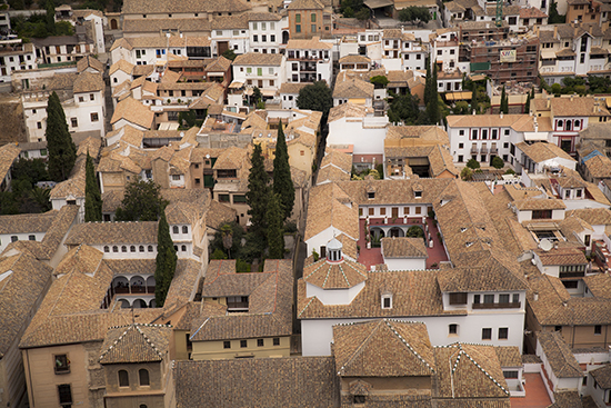 vistas de los tejados del barrio del Albaicín Granada