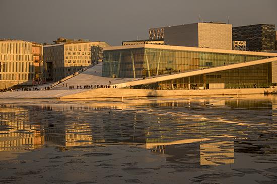 atardecer en Oslo en enero