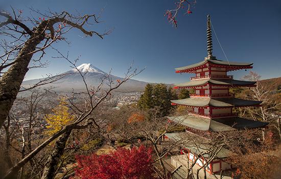 vistas panorámicas Fuji en otoño