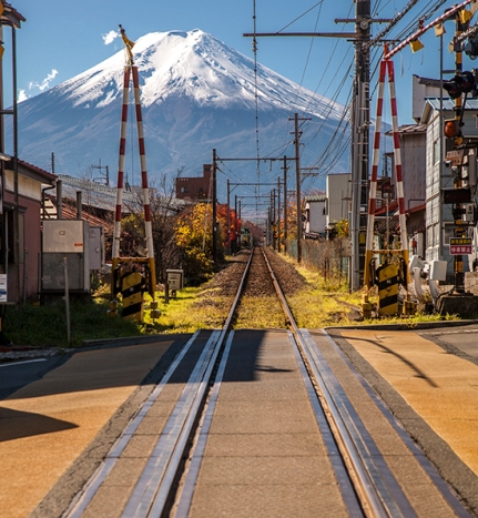 vistas del Fuji y raíles
