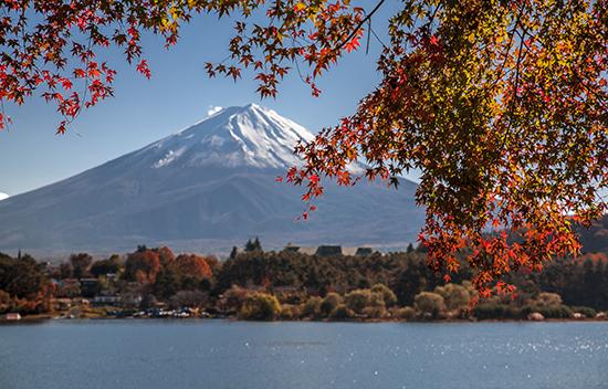 Kawaguchiko lake vistas del Fuji en noviembre momiji