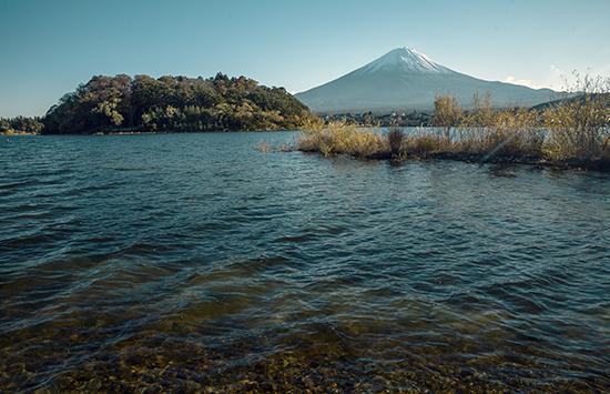 vistas Fuji en otoño en Kawaguchiko lake Japón