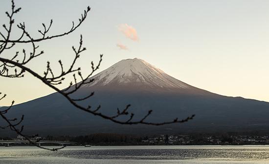 atardecer Fuji en otoño en Kawaguchiko lake Japón