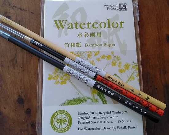 watercolor papel de bambu