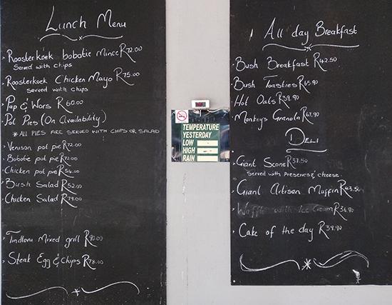 precios bares restaurantes Kruger picnic site Afsaal
