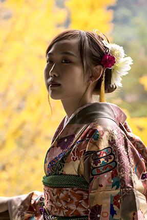 kimonos en Miyajima Japon