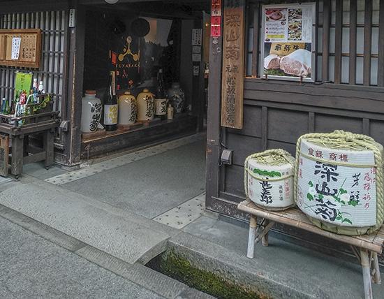 barriles sake en Japón Takayama