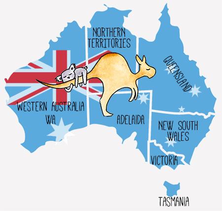 Mapa ilustrado australia te cuento de viajes