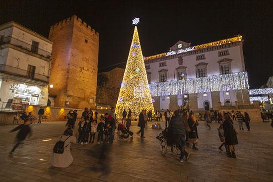 Plaza Mayor de Cáceres en Navidad